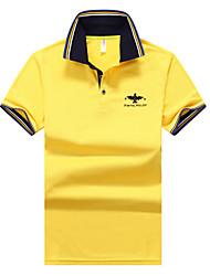 preiswerte -Herren Solide Stickerei Einfach Lässig/Alltäglich Polo,Klassischer Kragen Sommer Kurzarm Polyester Undurchsichtig