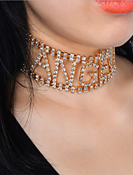 cheap -Women's Choker Necklace  -  Rhinestone Alphabet Shape Personalized, Luxury, Fashion Gold, Silver Necklace For Party, Party Evening, Party / Evening