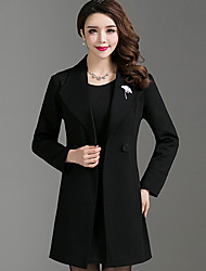 cheap -Women's Wool Trench Coat - Solid Colored Peter Pan Collar