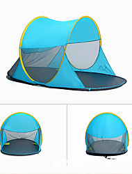 baratos -3 pessoa Cabana de Praia / Tenda Único Barraca de acampamento Ao ar livre Barraca pop-up Á Prova-de-Chuva / Á Prova-de-Pó para Acampar e
