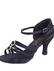 Women's Latin Silk Sandals Indoor Flared Heel Brown Beige Black