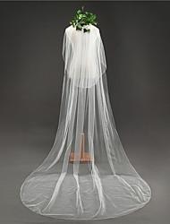 Duas Camadas Borda Lápis Véus de Noiva Véu Capela Com Fru-Fru Tule