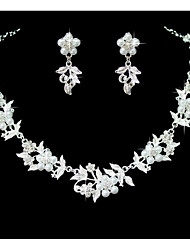Women's Jewelry Set Rhinestone Floral Wedding Party Special Occasion Anniversary Birthday Imitation Pearl Rhinestone Alloy Flower