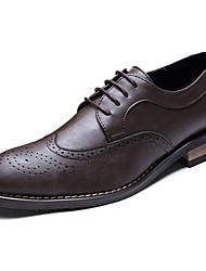 Men's Shoes PU Spring Summer Formal Shoes Oxfords Lace-up For Party & Evening Office & Career Black Brown Screen Color