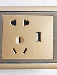 Type 86 USB Power Outlet 2 Bit 3 Bit Golden