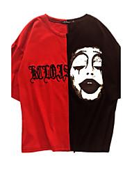T-shirt Da uomo Da sera Quotidiano Casual Palco Moda città Primavera Estate,Monocolore 3D Print Rotonda Misto cotone/sinteticoMezza