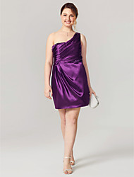 cheap -Sheath / Column One Shoulder Short / Mini Stretch Satin Plus Size Cocktail Party Homecoming Dress with Beading by TS Couture®