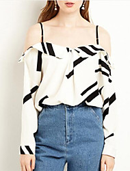 Women's Going out Casual/Daily Simple Cute Spring Summer Blouse,Geometric Strap Long Sleeve Polyester Medium