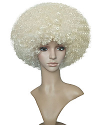 cheap -Synthetic Wig Kinky Curly Synthetic Hair White Wig Women's Short Light Blonde