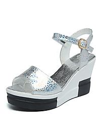 Women's Sandals Comfort PU Summer Casual Walking Comfort Buckle Low Heel Gold White Silver 2in-2 3/4in