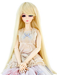 Synthetic Doll Accessories Long Straight Light Blonde color Hair for 1/3 1/4 Bjd SD DZ MSD Doll Costume Wig Not for Human Adult