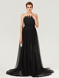 A-Line Jewel Neck Court Train Tulle Formal Evening Dress with Appliques Buttons Sash / Ribbon Ruching Pleats by TS Couture®