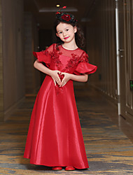 cheap -A-Line Ankle Length Flower Girl Dress - Tulle Mikado Short Sleeves Jewel Neck with Sequin by QZ