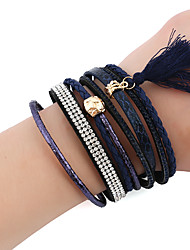 cheap -Women's Chain Bracelet Charm Bracelet Leather Bracelet Rhinestone Fashion Vintage Gothic Costume Jewelry Basketwork Metal Alloy Polyresin