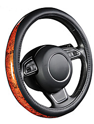 cheap -AUTOYOUTH Car Steering Wheel Cover Small Black Lychee Pattern Crescent Wood Grain Universal 38cm /15 inch Car Styling