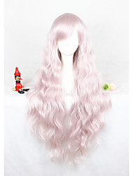 cheap -Long Curly Light Pink Lolita Wig For Girls 32inch Free Shipping Synthetic Anime Cosplay Party Hair Wig Heat Resistant Wig