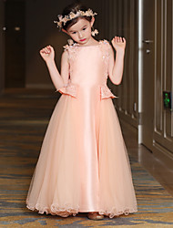 A-Line Ankle Length Flower Girl Dress - Satin Tulle Mikado Sleeveless Jewel Neck with Sequin by QZ