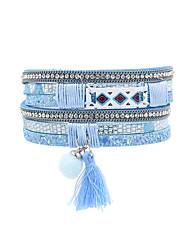cheap -Women's Leather Bohemian Leather Bracelet - Vintage Bohemian Turkish Fashion Square Gray Brown Red Pink Light Blue Bracelet For Wedding