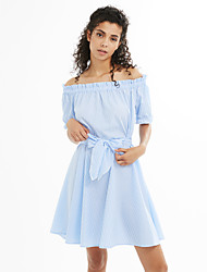 cheap -Women's Going out Cute Lantern Sleeve Shift Dress - Striped High Rise Boat Neck