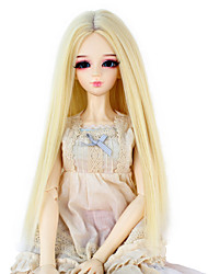 Synthetic Doll Accessories Long Straight Light Blonde Color Middle Centre Parting Hair for 1/3 1/4 Bjd SD DZ MSD Doll Costume Wigs Not for Human Adult