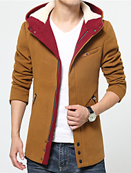 Men's Daily Simple Casual Winter Fall Trench Coat,Solid Hooded Long Sleeve Regular Nylon