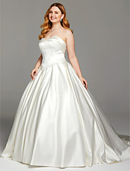 Ball Gown Sweetheart Cathedral Train Satin Wedding Dress with Buttons Ruching by LAN TING BRIDE®