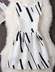 Trapèze Robe Femme Points Polka Col Arrondi Mi-long Sans Manches Polyester Eté Taille Normale Micro-élastique Moyen