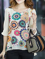 cheap -Women's Leisure Sports Outdoor Street chic Blouse,Floral Geometric Round Neck Half Sleeves Silk Cotton