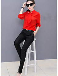 cheap -Women's Going out Casual Spring Fall Blouse Pant Suits,Solid Crew Neck ¾ Sleeve Polyester