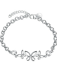 cheap -Women's Girls' Crystal Silver Plated Bowknot Chain Bracelet - Friendship Fashion Rock Bowknot Silver Bracelet For Christmas Gifts Wedding