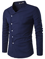 HOT! Plus Size S-3XL Men's Going out Casual/Daily Vintage Simple Spring Summer ShirtSolid Stand Long Sleeve Cotton Thin