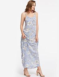 Feminino Bainha Vestido,Feriado Para Noite Casual Bandagem Praia Sensual Vintage Boho Floral Com Alças Longo Sem Manga Poliéster Verão