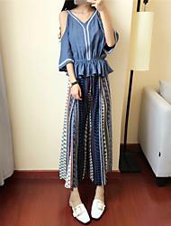 baratos -Feminino Japonesa/Curta Calça Conjuntos Para Noite Vintage Verão,Listrado Decote Redondo Manga Longa