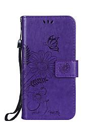 Недорогие -Назначение iPhone X iPhone 8 iPhone 8 Plus Чехлы панели Кошелек Бумажник для карт со стендом Флип Рельефный Чехол Кейс для Цветы Твердый