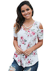 Women's Holiday Going out Cute Summer T-shirt,Floral V Neck Short Sleeve Polyester Spandex Medium