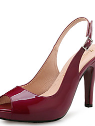 Women's Sandals Basic Pump Spring Summer Leather Wedding Dress Party & Evening Stiletto Heel Black Blue Almond Burgundy 3in-3 3/4in