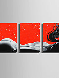 cheap -E-HOME Stretched Canvas Art  The Back Of A Woman  Decoration Painting Set Of 3