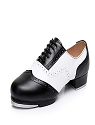 cheap -Men's Tap Shoes Leather Heel / Sneaker Splicing Low Heel Dance Shoes Red / White / Black / White / White / Green / Practice