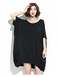 Women Casual/Daily T Shirt Dress,Solid Round Neck Above Knee Half Sleeve 100%Cotton All Seasons Summer Mid Rise Inelastic Medium