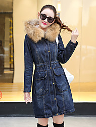 Women's Casual Casual Fall Fur Coat,Solid Hooded Long Sleeve Long Cotton Oversized