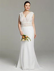 Mermaid / Trumpet V-neck Sweep / Brush Train Chiffon Lace Wedding Dress with Lace by LAN TING BRIDE®