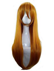 Donna Parrucche sintetiche Senza tappo Lungo Lisci Arancione Parrucca Cosplay costumi parrucche