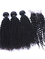 cheap -Natural Color Hair Weaves Brazilian Texture Kinky Curly Curly Weave More Than One Year Four-piece Suit hair weaves