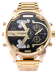 cheap -SHI WEI BAO Men's Sport Watch Japanese Calendar / date / day / Dual Time Zones / Large Dial Stainless Steel Band Charm Gold / Two Years / SOXEY SR626SW