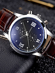 cheap -YAZOLE Men's Sport Watch Military Watch Wrist Watch Quartz Calendar / date / day Creative PU Band Analog Charm Vintage Casual Black / Brown - Brown Black / White White / Brown