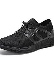 abordables -Hombre Zapatillas de deporte Confort Tejido Primavera Verano Deportivo Casual Banda Tacón Plano Negro Azul Oscuro Plano