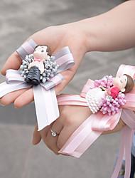 mariage satin rose mariée poignet corsages gris marié broche accessoires de mariage