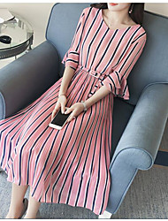 cheap -Women's Party Daily Going out Cute Casual Sexy A Line Loose Dress,Solid Striped V Neck Above Knee 3/4 Length Sleeves Cotton Linen