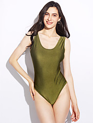 cheap -Women's Solid Solid Straped One-piece Swimwear Black Army Green