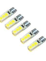 2W DC12V  White  T10 SMD5050 6LED Decorative Lamp Reading Light License Plate Light Door Lamp 5PCS